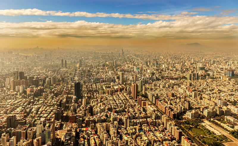 Aerial view at the city of Taipei, Taiwan. Panoramic view at the city of Taipei in Taiwan as seen from 101 tower building stock images