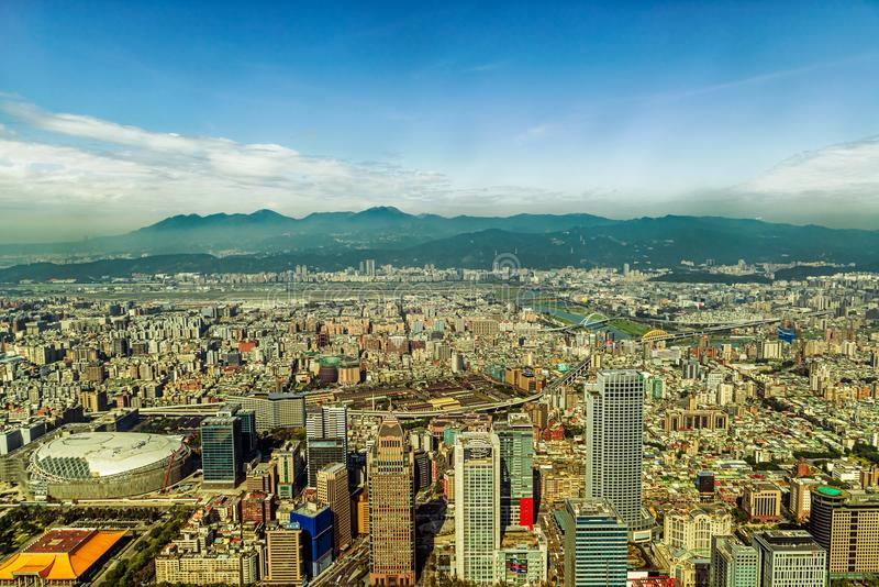 Aerial view at the city of Taipei, Taiwan. Taipei, Taiwan - Jan 16, 2018: Panoramic view at the city of Taipei in Taiwan as seen from 101 tower building stock image