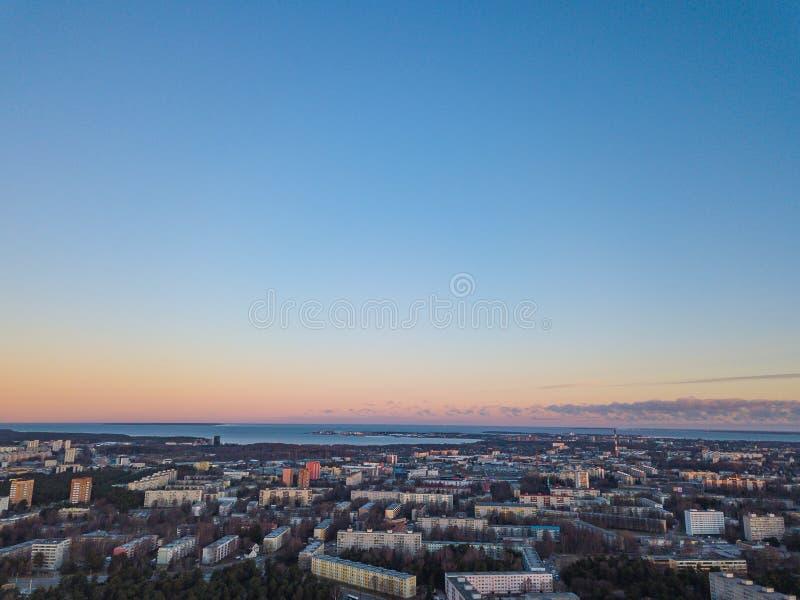 Aerial view of city Tallinn Estonia, panorama of district Mustamjae stock images