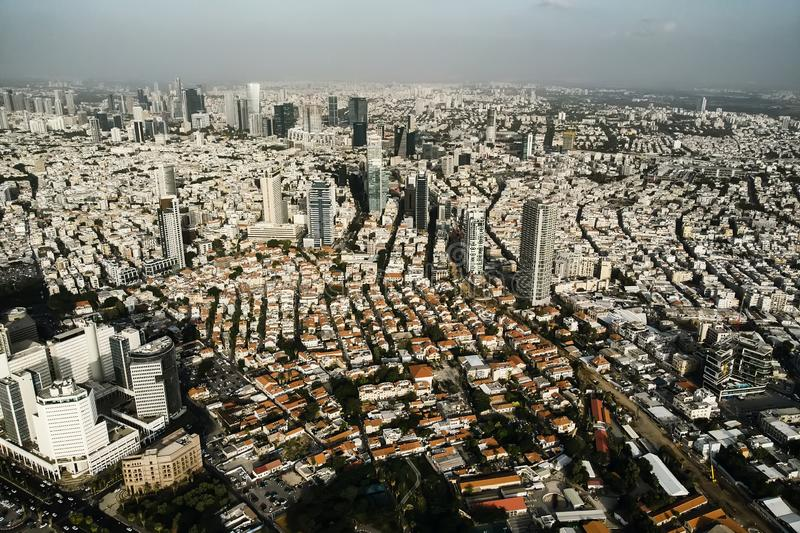 Aerial view of the City of Tel Aviv, Israel. Densely populated territory of second large israeli city. Roof view of populous city. Aerial view of City of Tel stock photos