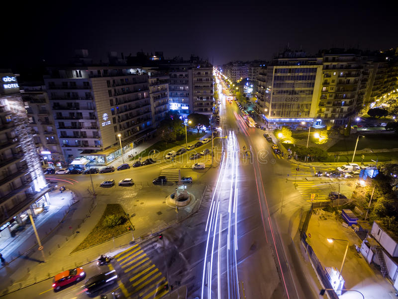 Aerial view of city Thessaloniki at night, Greece. royalty free stock images