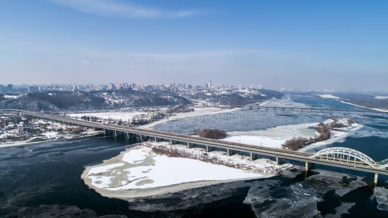 Aerial view of the Kiev city, Ukraine. Dnieper river with bridges. Darnitskiy bridge. Aerial view of the city, Ukraine. Dnieper river with bridges. Darnitskiy royalty free stock photo