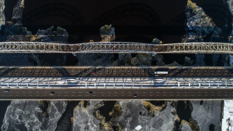 Aerial view of the Kiev city, Ukraine. Dnieper river with bridges. Darnitskiy bridge. Aerial view of the city, Ukraine. Dnieper river with bridges. Darnitskiy royalty free stock photography