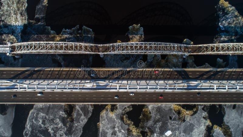 Aerial view of the Kiev city, Ukraine. Dnieper river with bridges. Darnitskiy bridge. Aerial view of the city, Ukraine. Dnieper river with bridges. Darnitskiy royalty free stock image