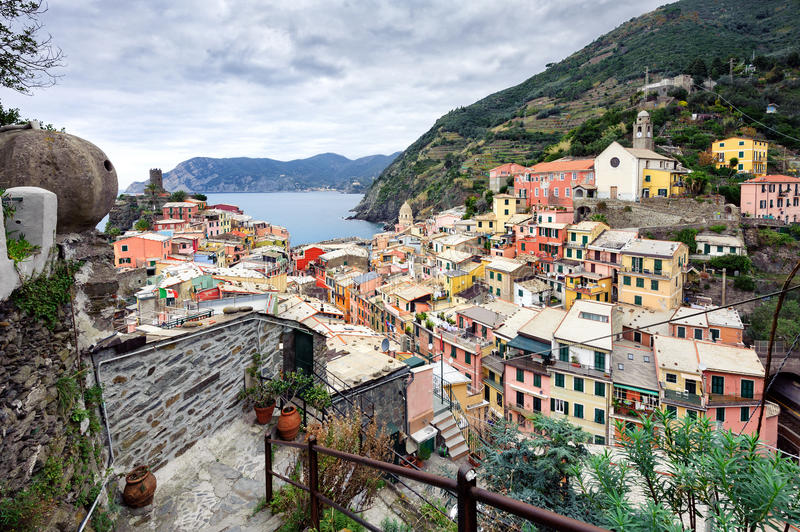 Aerial view on city of Vernazza town in Cinque Terre national park, Italy stock photos
