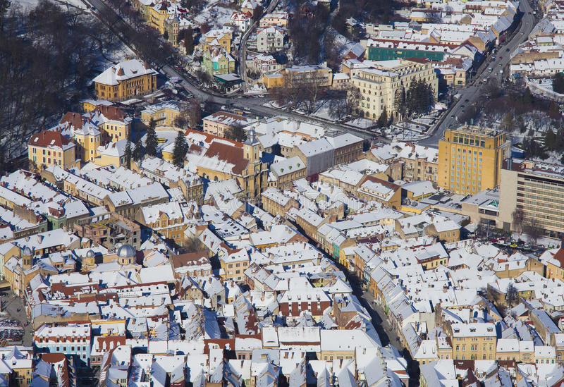 Aerial view of city in winter royalty free stock image