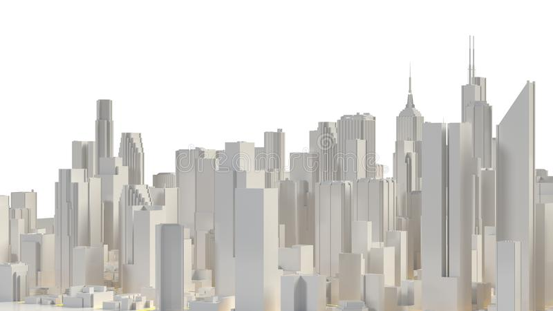 Aerial view of cityscape background. 3d rendering stock illustration