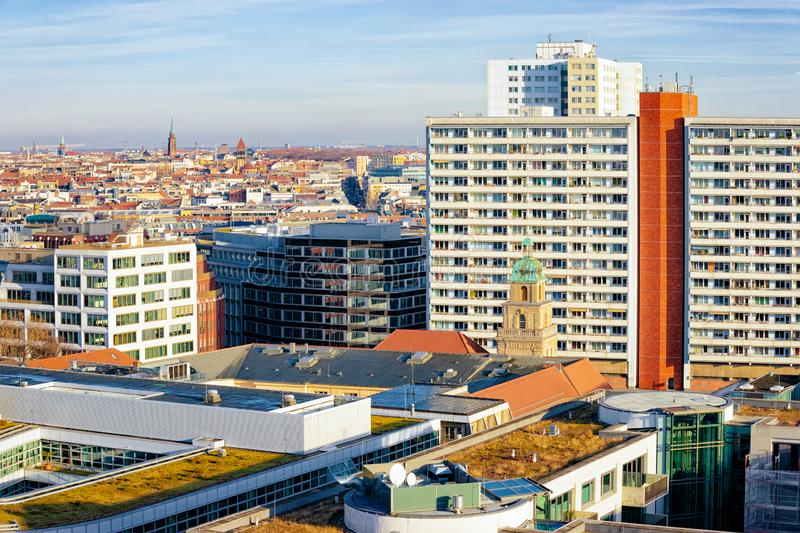Aerial view of cityscape in City centre downtown in Berlin royalty free stock image