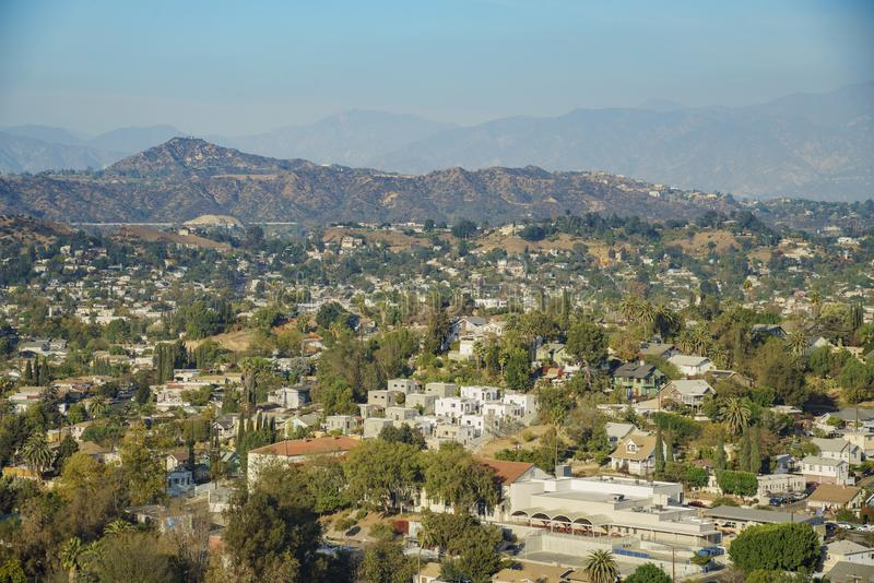 Aerial view of the cityscape of Highland Park. Los Angeles, California, United States royalty free stock photo