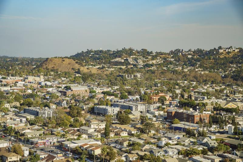 Aerial view of the cityscape of Highland Park. Los Angeles, California, United States stock photography