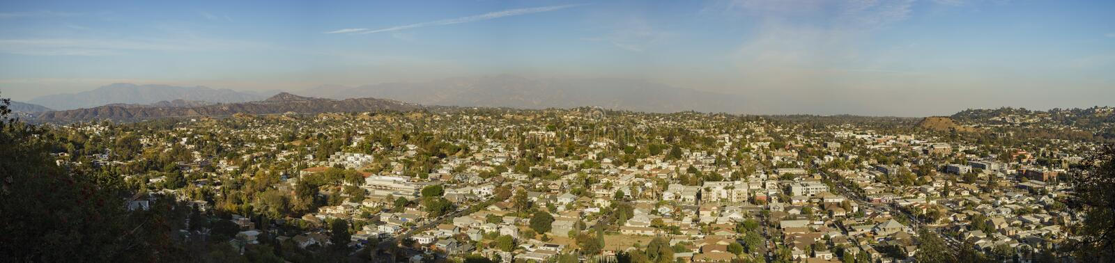 Aerial view of the cityscape of Highland Park. Los Angeles, California, United States stock photo