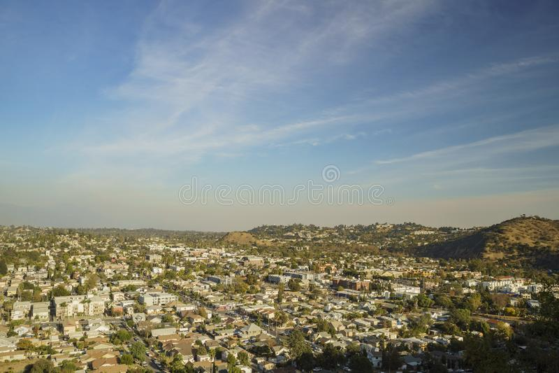 Aerial view of the cityscape of Highland Park. Los Angeles, California, United States stock images