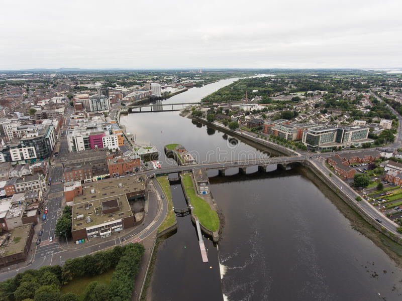 Aerial view cityscape of limerick city skyline, ireland. Shannon river royalty free stock photo