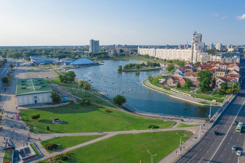 Aerial View, Cityscape Of Minsk, Belarus. Summer Season, Sunset Time. Panorama Of Nemiga District stock photos