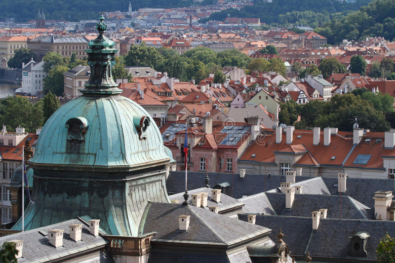 Aerial view of cityscape of Prague. dome of the Straka Academy. Government of the Czech Republic royalty free stock photos