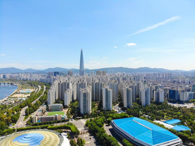 Aerial view cityscape of Seoul, South Korea. Aerial View Lotte tower at Jamsil. View of Seoul with river and mountain. Seoul downtown city skyline, Aerial view royalty free stock photography