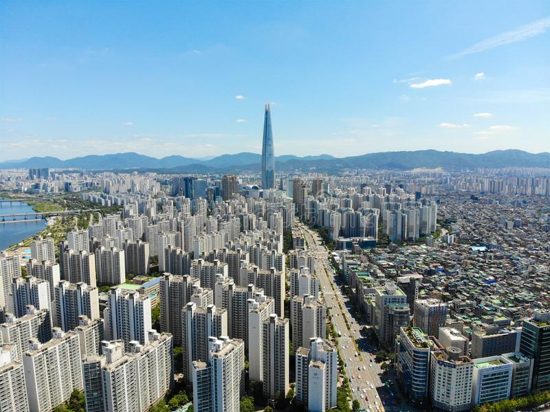 Aerial view cityscape of Seoul, South Korea. Aerial View Lotte tower at Jamsil. View of Seoul with river and mountain. Seoul downtown city skyline, Aerial view stock images
