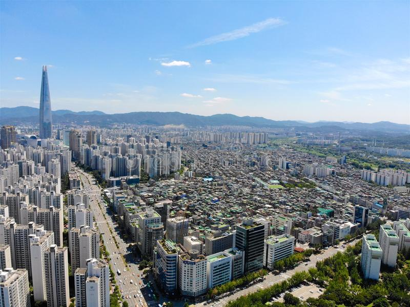 Aerial view cityscape of Seoul, South Korea. Aerial View Lotte tower at Jamsil. View of Seoul with river and mountain. Seoul downtown city skyline, Aerial view stock image