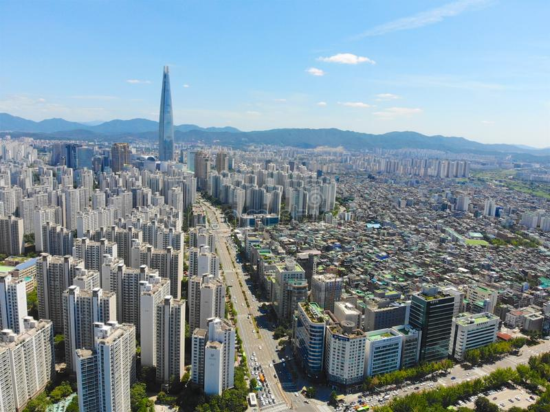 Aerial view cityscape of Seoul, South Korea. Aerial View Lotte tower at Jamsil. View of Seoul with river and mountain. Seoul downtown city skyline, Aerial view stock photography