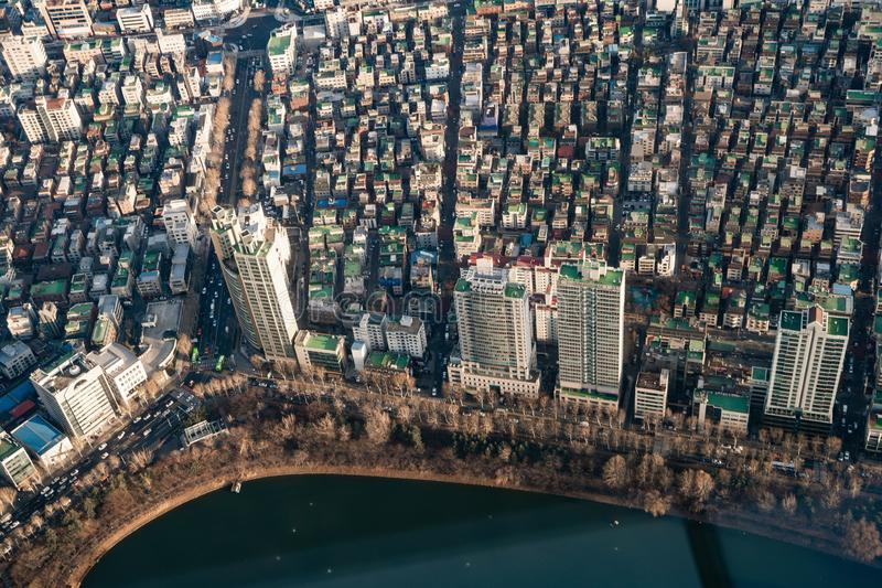 Aerial view cityscape of Seoul, South Korea. Aerial View Lotte tower at Jamsil. View of Seoul with river and mountain. Seoul downtown city skyline, Aerial view royalty free stock photos
