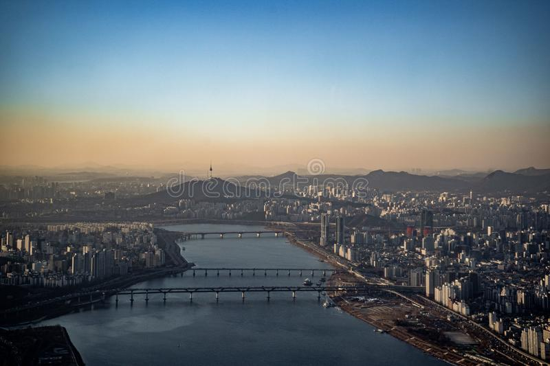 Aerial View Cityscape Of Seoul, South Korea. Aerial View ...