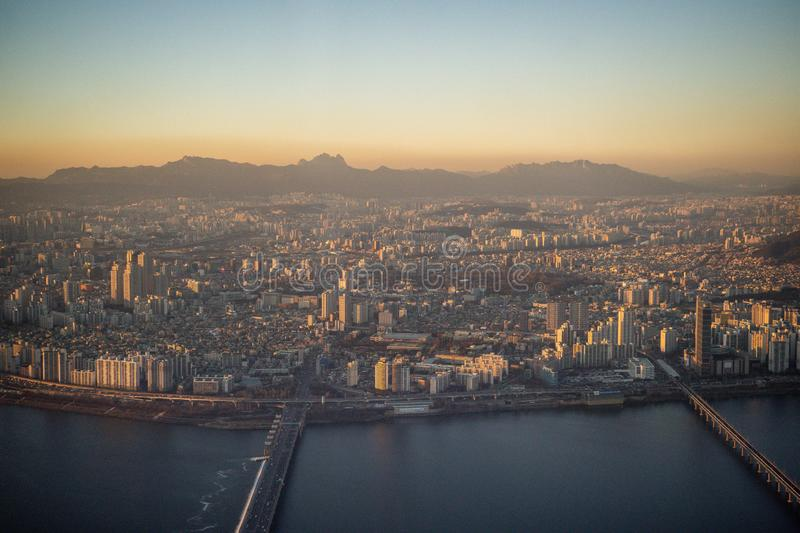 Aerial view cityscape of Seoul, South Korea. Aerial View Lotte tower at Jamsil. View of Seoul with river and mountain. Seoul downtown city skyline, Aerial view stock photos