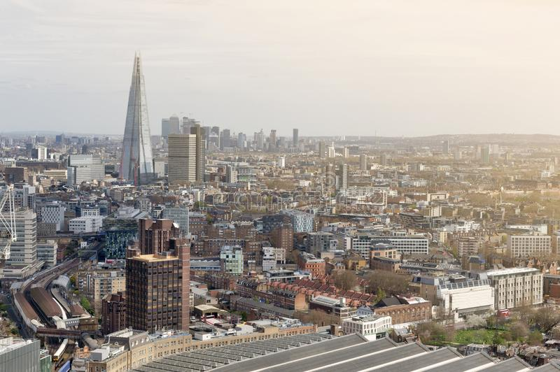Cityscape and skyline of London with the tallest building in UK and Europe, iconic architectural landmarks of London, England, UK. Aerial view of cityscape and royalty free stock image