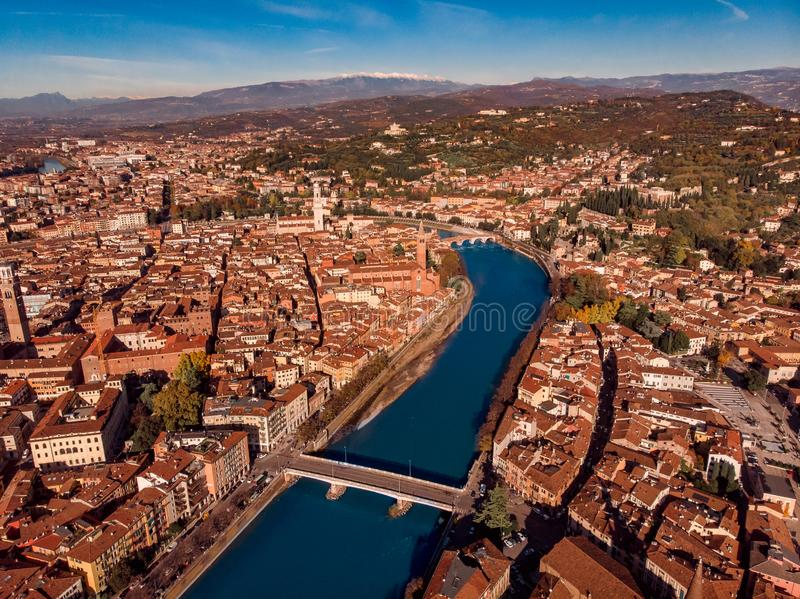Aerial view Cityscape of Verona city and Arena, Italy drone. stock image