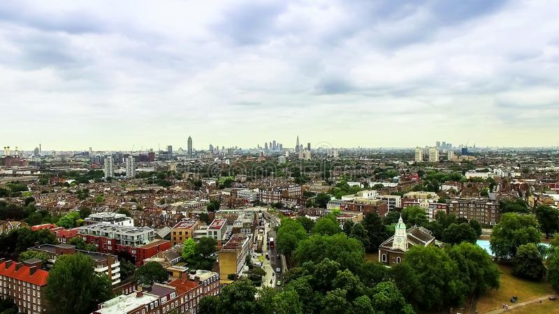 Aerial View of Clapham and Battersea in London. Urban Suburb City around a Park royalty free stock image