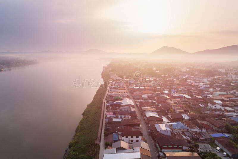Aerial view of classic wooden house beside the Mekong river in Chiang Khan district, Loei. CHIANG KHAN, THAILAND - APRIL 3 : Aerial view of classic wooden house stock photo