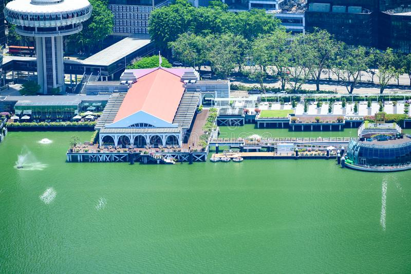 Aerial view of Clifford Pier at Marina Bay, Singapore royalty free stock image