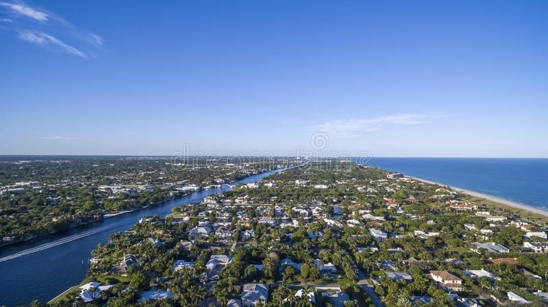 Aerial View from Delray Beach, Florida. Aerial View of Coast, Ocean, Intercoastal from Delray Beach, Florida stock image