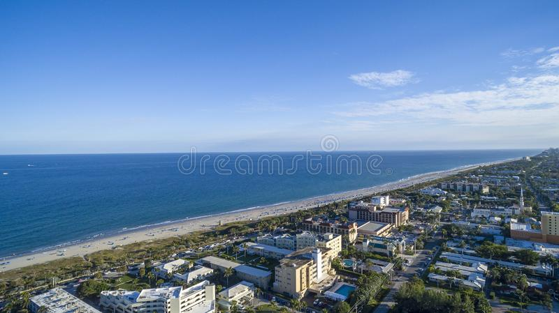 Aerial View from Delray Beach, Florida. Aerial View of Coast, Ocean, Intercoastal from Delray Beach, Florida stock photo