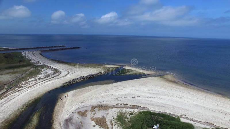 Coastal Shoreline on Long Island 1. Aerial View of Coastal Shoreline on North Shore of Long Island on a Summer Day as Seen by a Drone stock photo