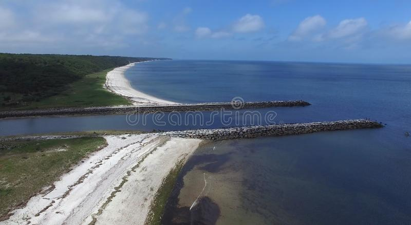 Coastal Shoreline on Long Island 4. Aerial View of Coastal Shoreline on North Shore of Long Island on a Summer Day as Seen by a Drone stock photo