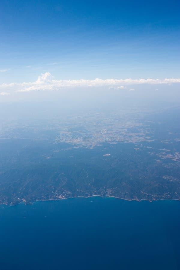 Aerial view of coastline royalty free stock photos