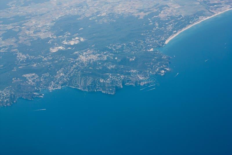 Aerial view of coastline royalty free stock photo