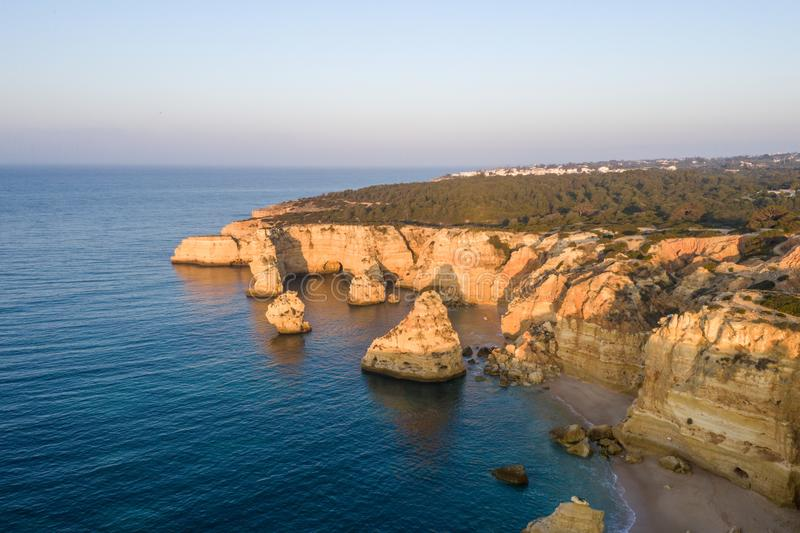 Aerial View of the Coastline in Algarve, Portugal royalty free stock image