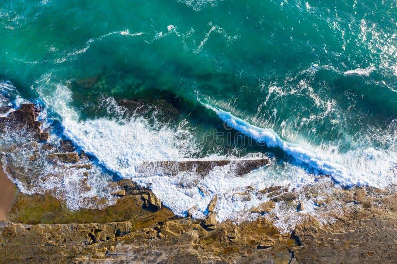 Aerial view of coastline - Dudley Beach - Newcastle Australia stock photography