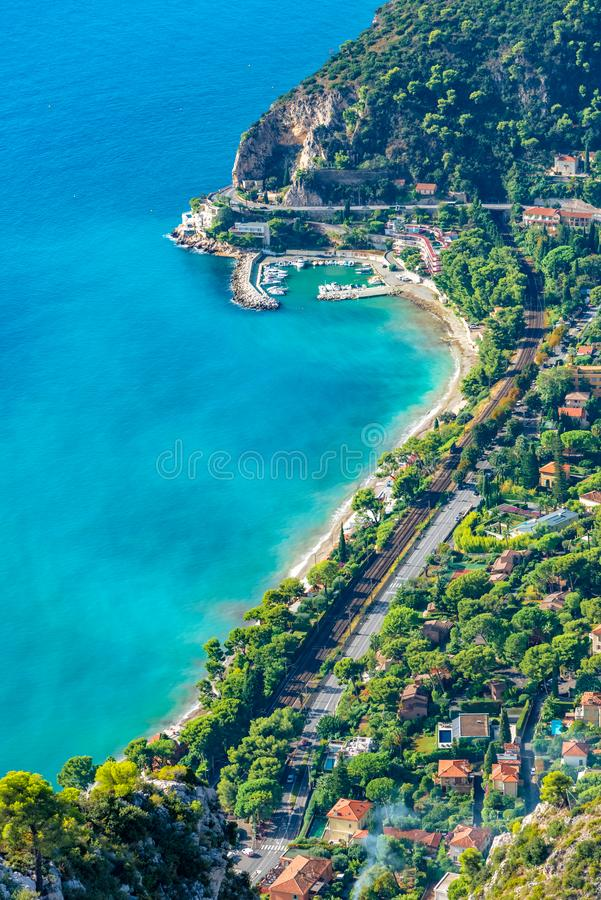 Aerial view of the coastline of French Riviera stock photography