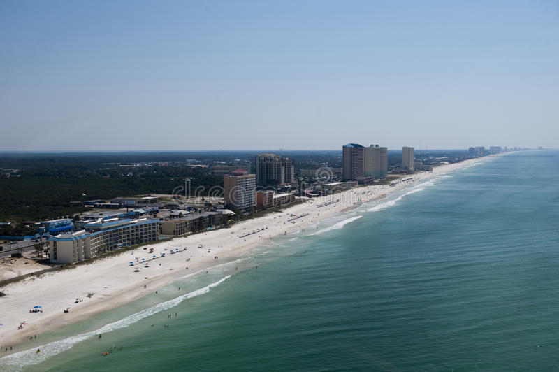 An aerial view of the coastline of Panama City Beach Florida laong the emerald green waters of the Gulf of Mexico stock photography