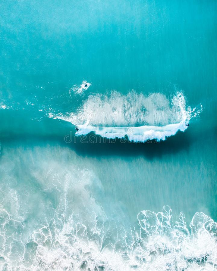 Aerial view of a coastline, perfect holiday destination at sunrise with beautiful beach, sand and warm tropical water royalty free stock photography