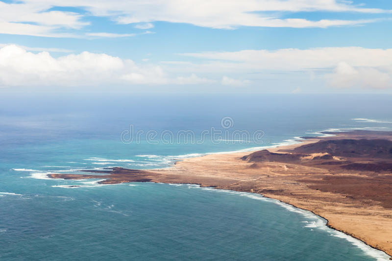 Aerial view of coastline with sandy beach in Boavista, Cape Verde royalty free stock images