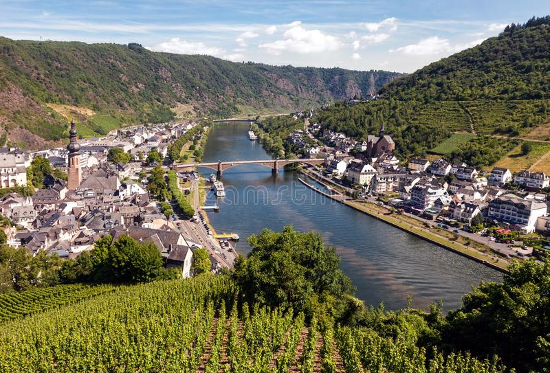 Cochem village at the Moselle riverbank in Germany. Aerial view at Cochem village at the Moselle riverbank in Germany stock images
