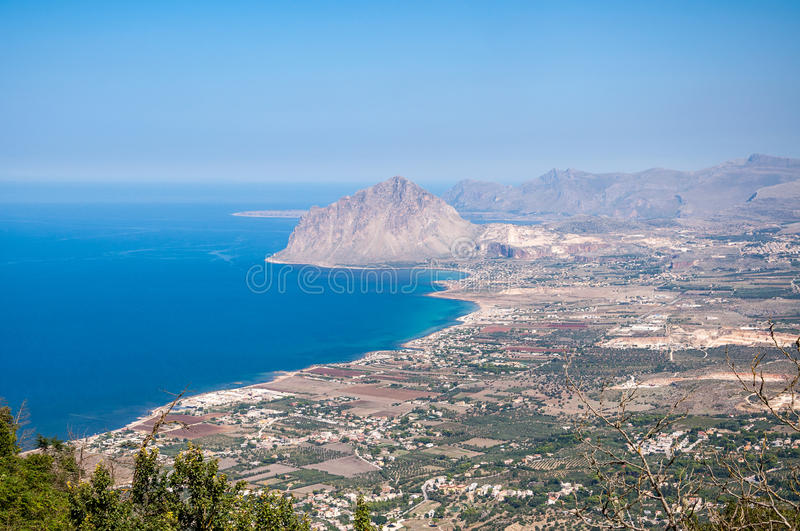 Aerial view of Cofano mount and the Tyrrhenian coastline from Erice, Sicily, Italy.  royalty free stock photos
