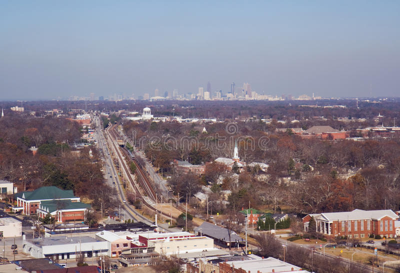 Aerial view of College Park and Atlanta, Georgia stock image