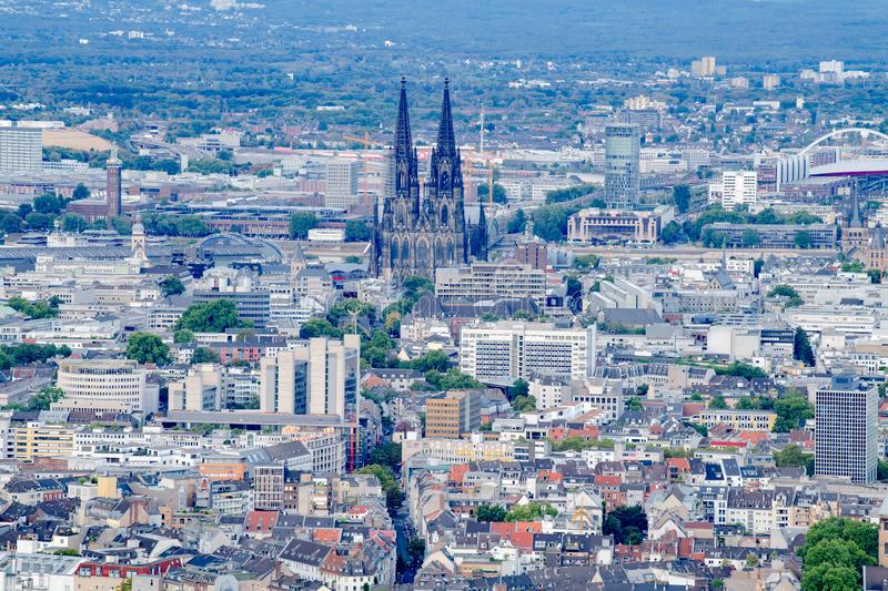 Aerial view Cologne with Cologne Cathedral stock photo