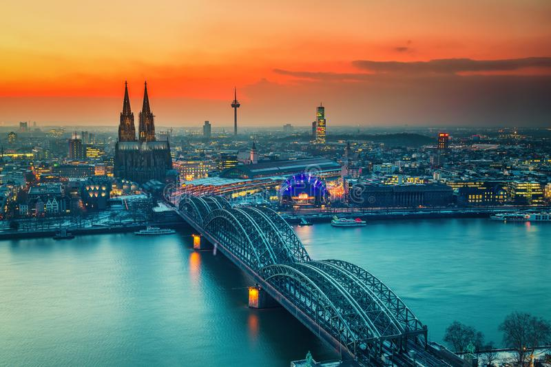 Aerial view on Cologne at night royalty free stock image