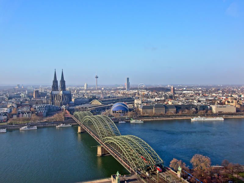 Aerial view on Cologne, with river Rhine, cathedral and hohenzollern bridge stock photos