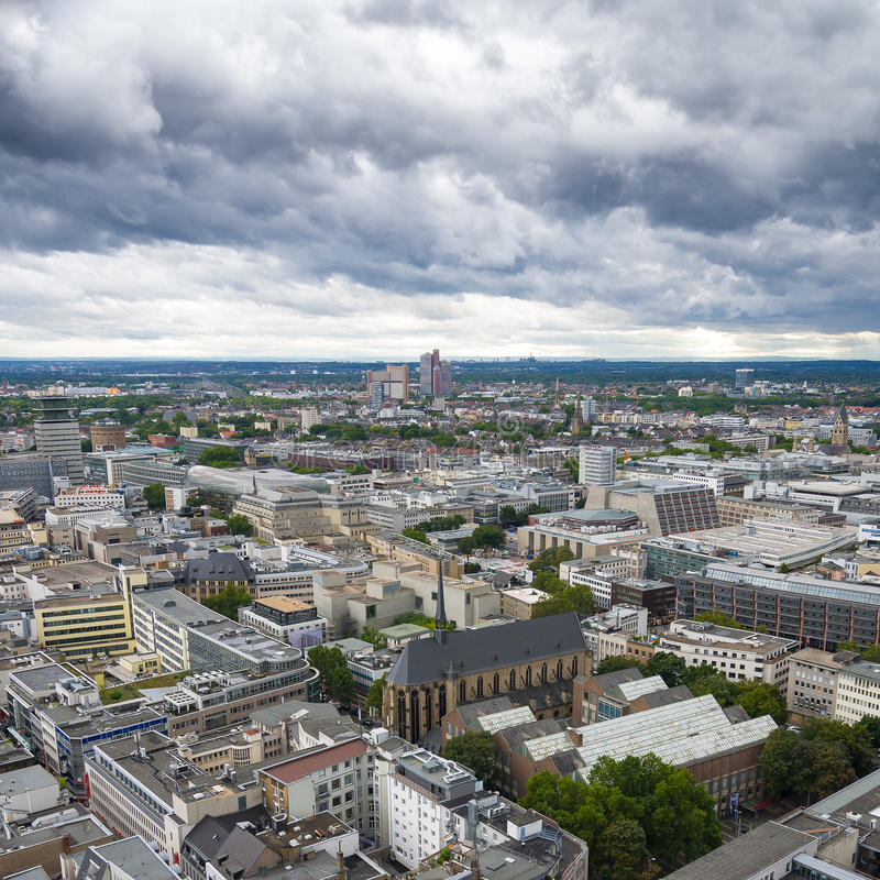 Aerial view of Cologne from the viewpoint of Cologne Cathedral. royalty free stock photo